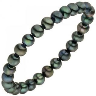 Armband mit Süßwasser Perlen dunkel elastisch 19 cm