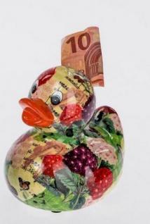 Spardose Sparbüchse Ente Flower Power, bunt aus Keramik, 13 cm