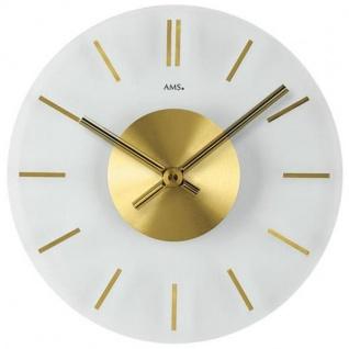 AMS 9319 Wanduhr Quarz analog golden rund aus Glas mit Messing