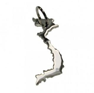 VIETNAM Kettenanhänger aus 925 Silber mit Brillant am Wunschort