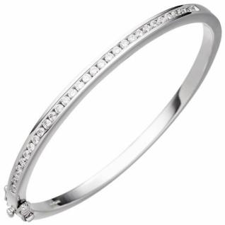 Armreif Armband oval 925 Sterling Silber mit Zirkonia Silberarmband