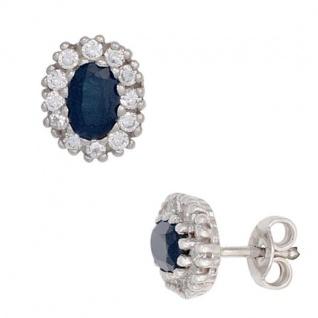 Ohrstecker 925 Sterling Silber rhodiniert 24 Zirkonia 2 Saphire blau