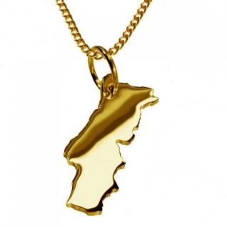 PORTUGAL Kettenanhänger aus massiv 585 Gelbgold mit Halskette