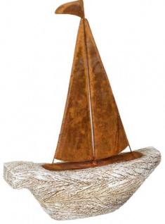 Dekofigur Boot aus Kunststein und Metall grau rost 24 x 32 cm
