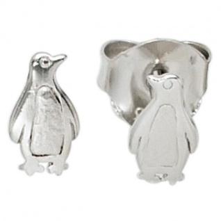 Ohrstecker Pinguin 925 Sterling Silber rhodiniert teilmattiert