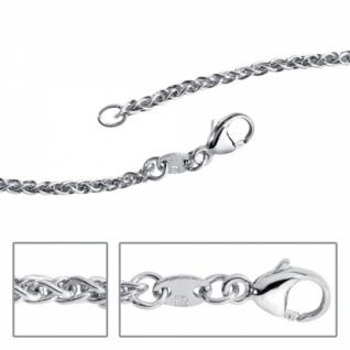 Zopfkette 925 Silber rhodiniert 2, 2 mm 45 cm Halskette Karabiner