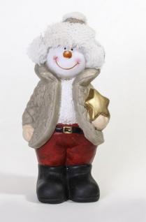 Dekofigur Schneemann mit Stern im Arm, stehend mit Wolllmütze