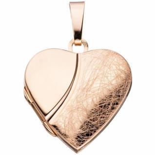 Medaillon Herz für 2 Fotos 925 Silber rotgold vergoldet zum Öffnen
