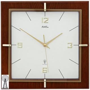 AMS 5834 Wanduhr Funk analog eckig Holz nussbaum farben mit Glas