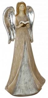 Deko-Figur stehender Engel mit Silberflügeln und Buch braun grau 20 cm