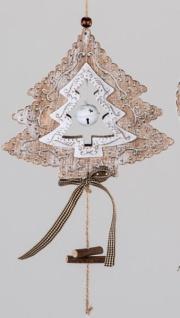 Deko-Hänger Tannenbaum aus Holz und Metall, weiß, braun, 32 cm