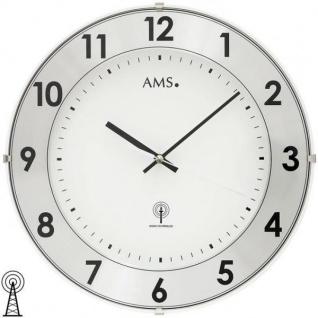 AMS 5948 Wanduhr Funk analog weiß rund mit Aluminium-Ring
