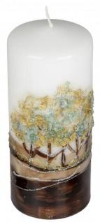 Stumpenkerze Baumdekor modern weiß braun gold, 7 x 16 cm rund