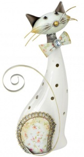 Windlicht-Katze Katzen-Deko Kater-Deko Kerzenhalter Teelichthalter cat Wackel-Kopf Metall Porzellan 23cm weiß