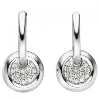 Creolen 585 Gold Weißgold 30 Diamanten Brillanten Ohrringe