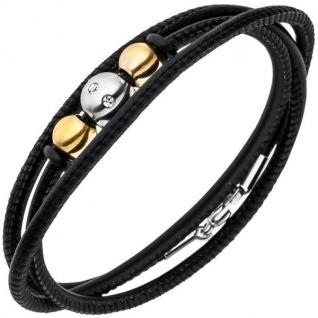 Armband Nappa-Leder schwarz mit Edelstahl und 8 Zirkonia