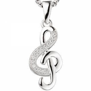 Anhänger Notenschlüssel Musik 925 Sterling Silber rhodiniert Zirkonia