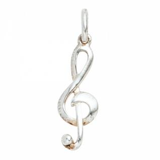 Anhänger Noten Schlüssel Musik 925 Sterling Silber rhodiniert