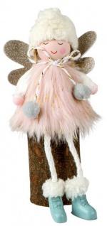 Weihnachtsdeko Figur Engel sitzend mit Federkleid weiß rosa 18 cm