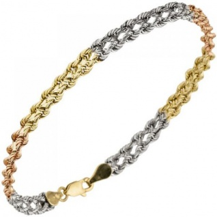 Armband 375 Gold Gelbgold Weißgold Rotgold tricolor dreifarbig 19 cm