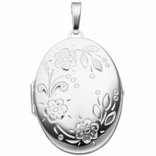 Medaillon oval Blumen für 2 Fotos 925 Sterling Silber zum Öffnen