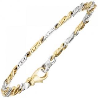 Armband 585 Gold Gelbgold Weißgold bicolor 16 Diamanten Brillanten 18, 5 cm