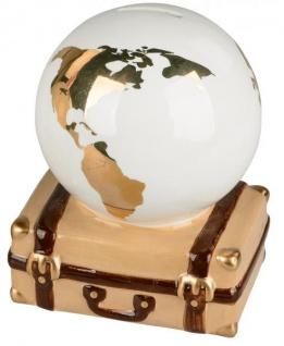Sparschwein-Globus auf Koffer Urlaubskasse gold weiß braun 16 x 16 cm