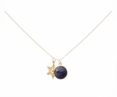 Halskette 45 cm Anhänger Schneeflocke 925 Silber Vergoldet Saphir Blau