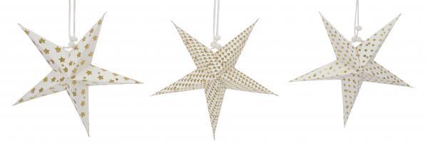 Fensterhänger Mini Sterne aus Papier im 3er Set creme gold 28 x 20 cm