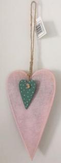 DIO Hängedeko Herz aus Sperrholz, rosa/blau, 10, 5x18cm