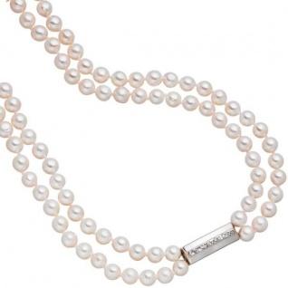 Perlenkette 2-reihig mit Akoya Perlen 45 cm Schließe 925 Silber mit Zirkonia