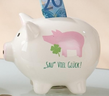 GILDE Sparschwein weiß mit Spruch und Schwein, 11 x 14 cm