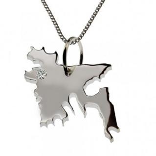 BANGLADESH Anhänger aus Silber mit Brillant am Wunschort mit Halskette