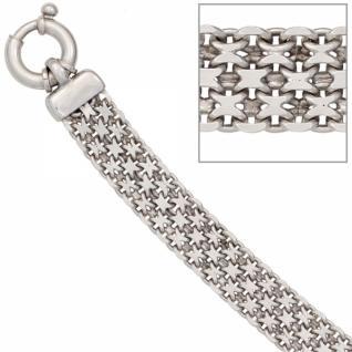 Armband 925 Sterling Silber rhodiniert 20 cm Federring