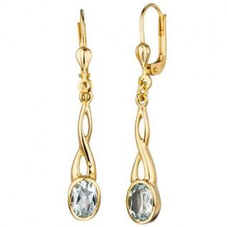 Boutons 585 Gold Gelbgold 2 Aquamarine Ohrringe Ohrhänger