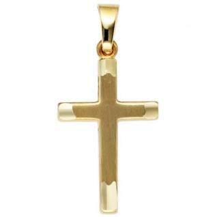 Anhänger Kreuz 333 Gold Gelbgold mattiert Kreuz Anhänger Goldkreuz