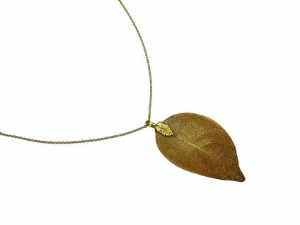 Halskette Anhänger Vergoldet Blatt Rose Natur 7 cm
