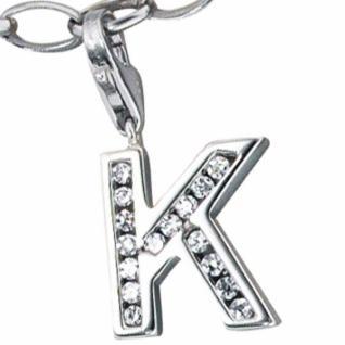 Einhänger Charm Buchstabe K 925 Sterling Silber mit Zirkonia