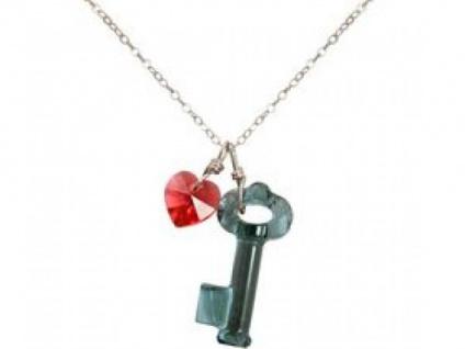Halskette Anhänger Silber Schlüssel Herz Blau Rot SWAROVSKI ELEMENTS