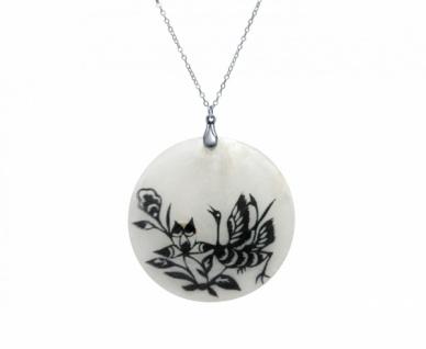 Halskette Anhänger FLOWERS 925 Silber Schwarz Weiß 5 cm
