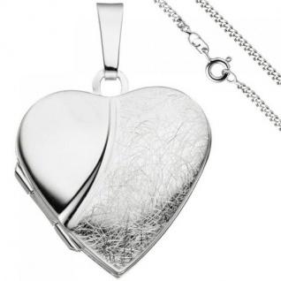 Medaillon Herz zum Öffnen für 2 Fotos 925 Silber mit Kette 50 cm