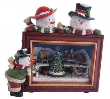 Nostalgische Spieluhr beleuchtet mit LED Schneemänner 25 cm