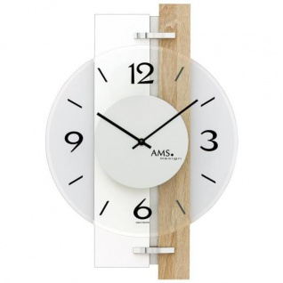 AMS 9557 Wanduhr Quarz weiß Holz Sonoma Optik mit Alu und Glas