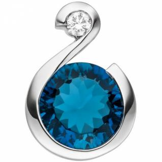 Anhänger 585 Gold Weißgold 1 Diamant Brillant 1 Blautopas hellblau