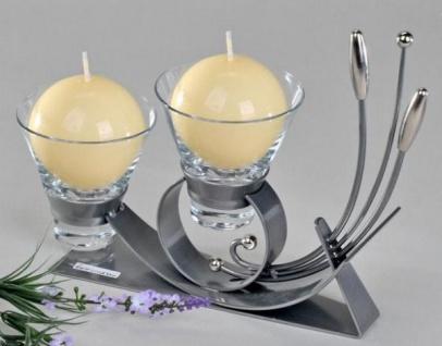 Teelichthalter Bogen aus Metall und Glas in Silber, zweiflammig, 25 cm