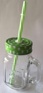 DIO Partyglas mit Aludeckel, Henkel und Strohhalm, grün, 9 x 11, 5 cm