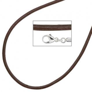 Collier Halskette Leder braun 925 Silber 42 cm - 2 mm Karabiner