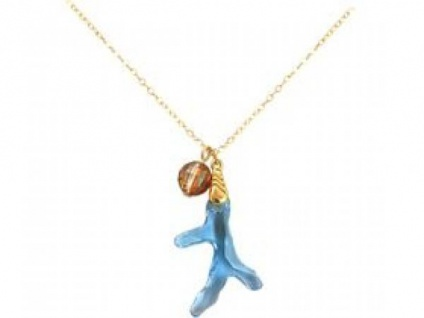 Halskette Anhänger vergoldet Koralle WITH SWAROVSKI ELEMENTS®