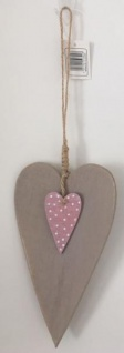 DIO Hängedeko Herz aus Sperrholz, braun/ rosa, 10, 5x18cm