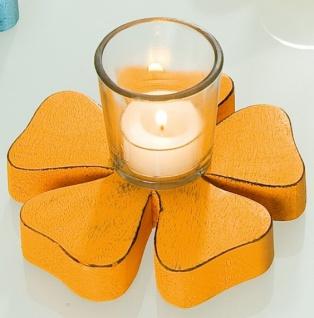 Gilde Kerzenhalter in Blümchenform mit Glas, orange, 8 x 14 cm